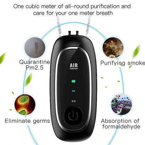 Foto Produk Kalung Air Purifier Necklace Elektronik Ion Negatif USB Pemurni Udara - Hitam dari Arieleza_Store