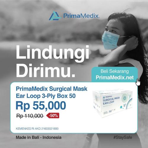 Foto Produk PrimaMedix Surgical Mask Ear Loop 3-Ply Box 50 - Putih dari PrimaMedix Bali