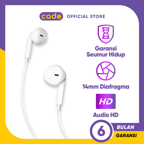 Foto Produk CADE Wired Headset Wired Earphone Bass - OPPO Official Accessories dari CADE Official Shop