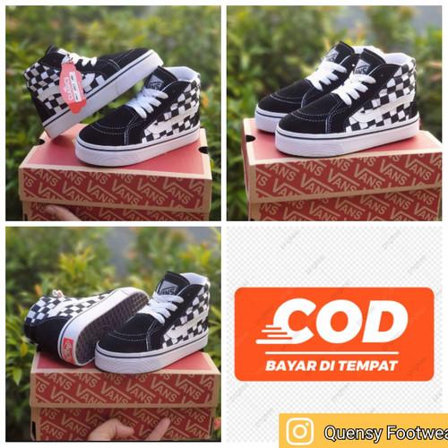 Foto Produk Sepatu anak Laki 4-7 Tahun Vans SK8 Catur Black white Tali Size 25-35 - 26/27 dari quensy footwear