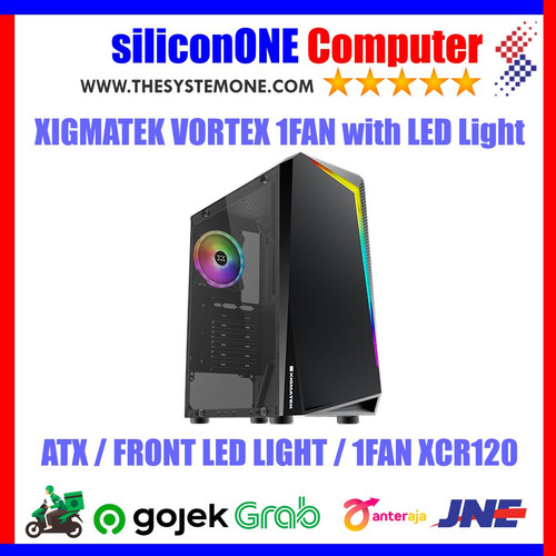 Foto Produk XIGMATEK VORTEX 1FAN XCR120 ATX TEMPERED GLASS RAINBOW LED FRONT PANEL dari silicon ONE Computer