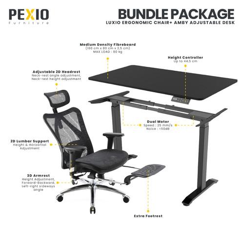 Foto Produk Bundle Package Ergonomic desk   Adjustable desk Amby + Luxio  PEXIO dari PEXIO