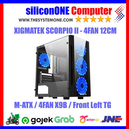 Foto Produk XIGMATEK SCORPIO II 4FAN X9B MATX FRONT LEFT Tempered USB3 USB2 dari silicon ONE Computer
