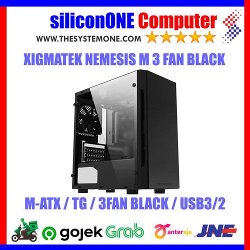 Foto Produk XIGMATEK NEMESIS M 3FAN BLACK MATX FRONT LEFT Tempered USB3 USB2 dari silicon ONE Computer