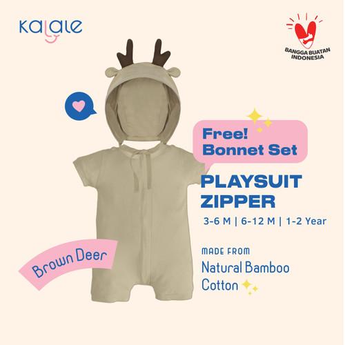 Foto Produk Playsuit Bonnet Set (Romper / Jumper Anak dan Bayi) - Kalale - Brown - 3-6 Bulan dari kalale