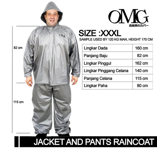 Foto Produk Jas Hujan Super Jumbo XXXL OMG Jaket Celana Tebal Bagus High Quality - Silver dari GrosirOtomotif