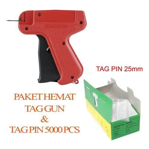 Foto Produk [PAKET HEMAT] Tag Gun - Alat Tembak Pasang Label + REFILL 5000 Pcs (W) - 25mm dari Mesin Jahit