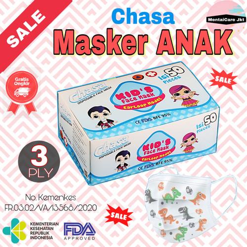 Foto Produk Masker ANAK ANAK 3 ply isi 50pcs kids 3-14thn face mask earloop - Biru Polos, Chasa Kid dari MentaiCare Jkt