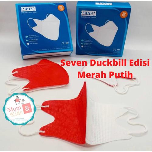 Foto Produk Masker Seven Duckbill 4 Ply (20 pcs) / Seven Duckbill Face Mask 4Ply - Merah Putih dari Toko Susu Mom n Kids