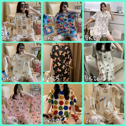 Foto Produk Baju Tidur Piyama Celana Pendek Wanita Import Baju Santai - all size S-M dari DOMDOM KIDS WEAR