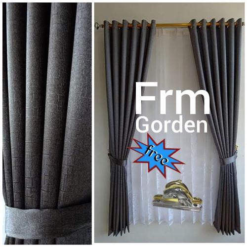 Foto Produk Gorden abu polos serat/blackout import/ring silver/size 200×130/ - abu tua, 135CM X 150CM dari frm gorden