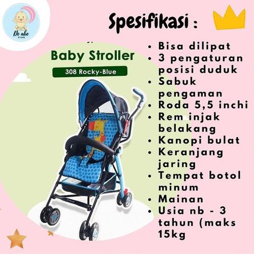 Foto Produk KERETA DORONG BAYI: Labeille Stroller 309 Most Buggy / STROLLER BAYI - Merah Muda dari DEABE_STORE