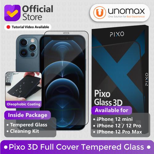 Foto Produk Tempered Glass iPhone 12 / mini / Pro / Pro Max Pixo 3D Full Cover - 12 atau 12 Pro dari unomax