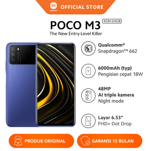 Foto Produk Xiaomi Official Poco M3 4/64GB Snapdragon 662 Mi Smartphone - Cool Blue dari Xiaomi Official Store