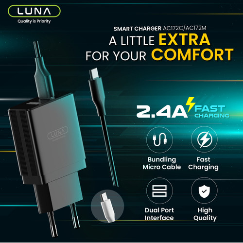 Foto Produk Luna Adater Charger Fast Charging 2.4 A Dual USB Wall Charger Adaptor - Hitam, Free Micro USB dari Luna Life