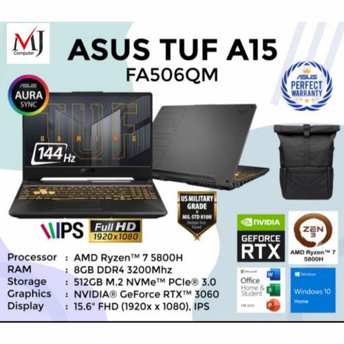 Foto Produk ASUS TUF GAMING A15 FA506QM - R7 5800H 8GB 512GB RTX3060 144Hz W10 OHS dari MusijayaComputer