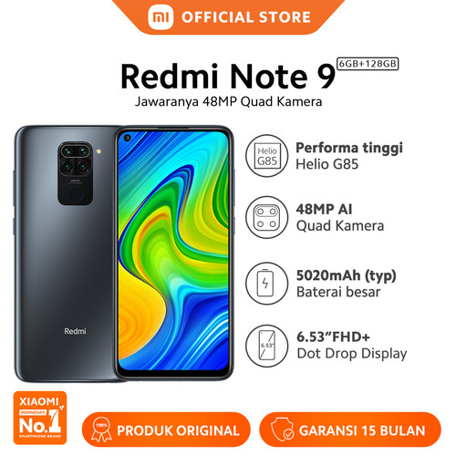 Foto Produk Xiaomi Official Redmi Note 9 6/128 GB Garansi Resmi Mi Smartphone - Hitam dari Xiaomi Official Store