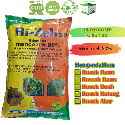 Foto Produk Fungisida Hi Zeb 80 WP Mankozeb Obat Busuk Daun Buah Batang Akar dari Purotani.ID