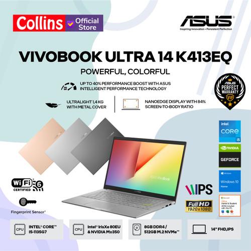 """Foto Produk ASUS VIVOBOOK 14 K413EA - i5 1135G7 8GB SSD 512GB 14"""" FHD IPS W10 OHS - NVIDIA MX350 dari Collins Official"""