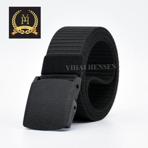 Foto Produk [Y&H] Ikat Pinggang Pria Canvas Kain Nylon Men Belt Anti metal Detctor - Hitam dari Y & H Official Shop