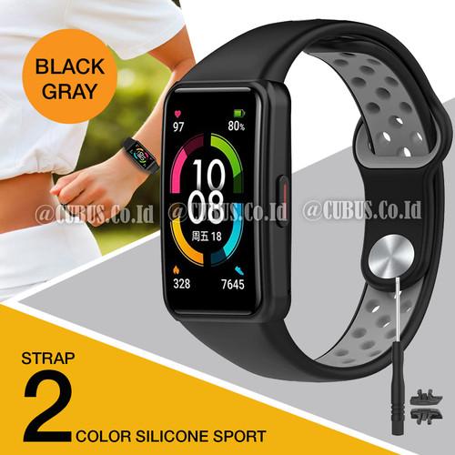 Foto Produk Silicone Strap/Tali Jam Tangan/Rubber 2 Color for Huawei/Honor Band 6 - Black Gray dari Cubus_Co_ID