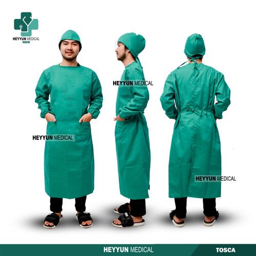 Foto Produk APD Gown Surgical Baju Bedah Operasi Jubah Medis Bahan American Drill - Tosca dari heyyunstore