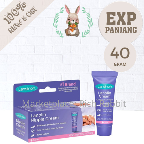 Foto Produk Lansinoh HPA Lanolin Nipple Cream 40 Gram / Krim Puting Lecet dari Rich Rabbit