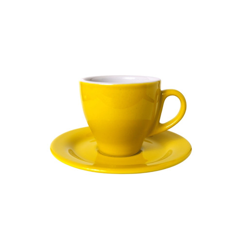 Foto Produk PALERMO Coffee Cup I Cappucino Cup Porcelain I Cangkir Kopi Susu - Kuning dari Soebi Antiq Warehouse