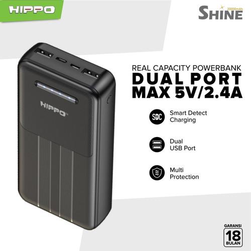 Foto Produk Hippo Power Bank SHINE 20000 mah Smart Detect Charging - Hitam, Powerbank ONLY dari Hippo Official Store