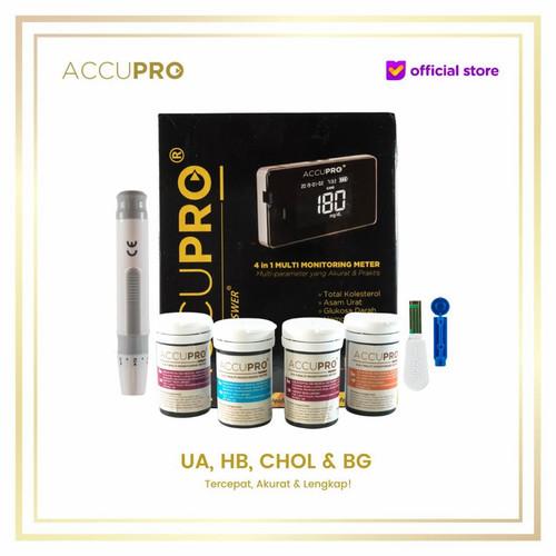 Foto Produk ACCUPRO 4 in 1 Alat Cek Gula Darah Kolesterol Asam Urat Hemoglobin GCU dari ACCUPRO Official Store