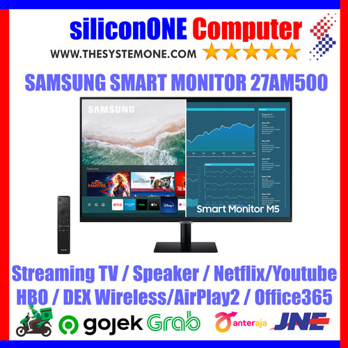 """Foto Produk Samsung 27"""" 27AM500 Smart FHD HDR10 M5 S27AM500 Airplay2 Streaming TV dari silicon ONE Computer"""