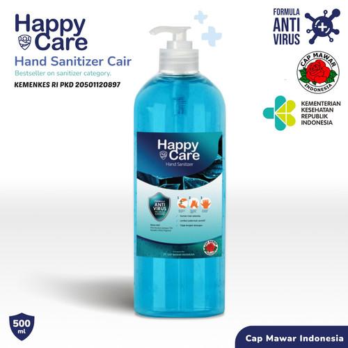 Foto Produk HAND SANITIZER HAPPY CARE PUMP 500ml (Liquid /Cair) - Biru dari Raynistore