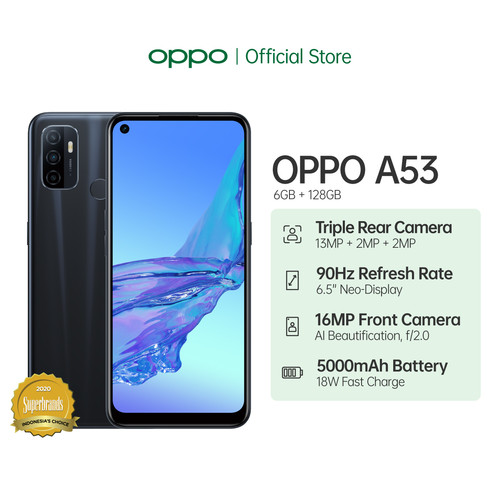 Foto Produk OPPO A53 Smartphone 6GB/128GB (Garansi Resmi) - Biru dari OPPO OFFICIAL STORE