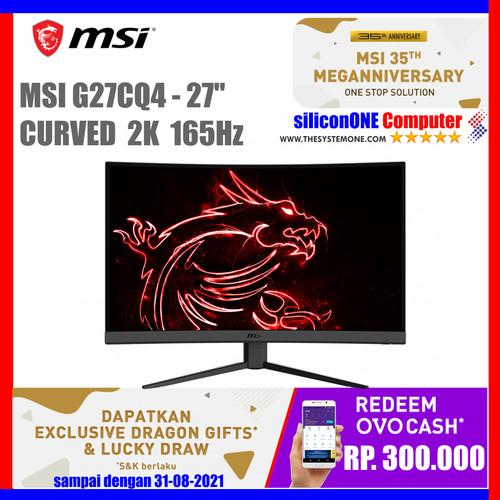"Foto Produk MSI OPTIX G27CQ4 27"" G27 Curved 1500R 165Hz 1ms 1DP 2HDMI Freesync dari silicon ONE Computer"