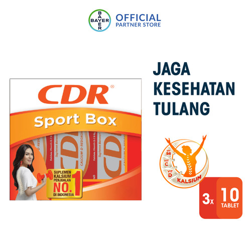 Foto Produk Sport Pack (CDR Suplemen Kalsium Rasa Fruit Punch 10 Tablet x 3 unit) dari Bayer Health Partner
