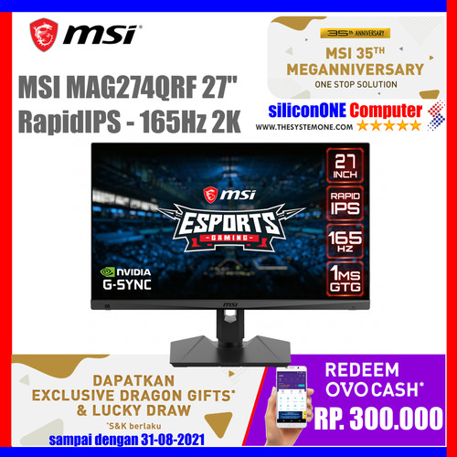 "Foto Produk MSI MAG274QRF 165Hz 1ms 2K USB-C MAG274 274QRF 27"" OPTIX WQHD dari silicon ONE Computer"