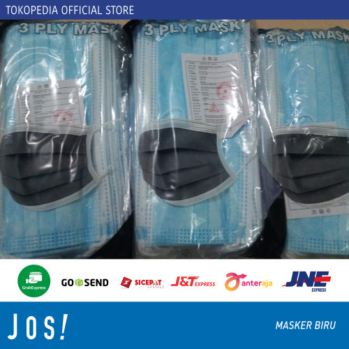 Foto Produk Masker 3ply earloop 3 ply isi 50pcs - Masker Biru dari J O S