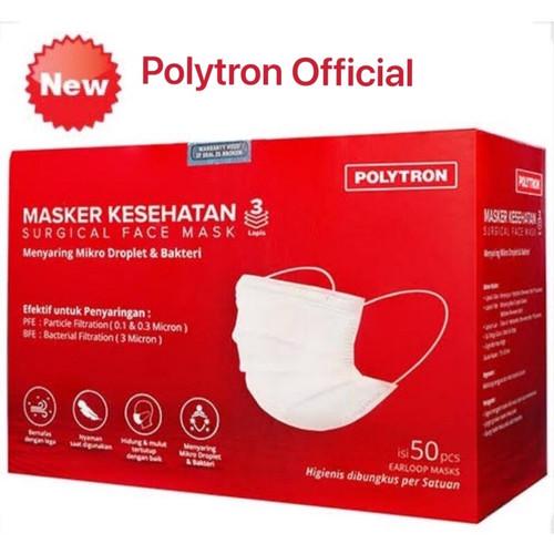 Foto Produk Masker Medis 3 Ply Polytron - isi 50 pcs dari Polytron Mobile