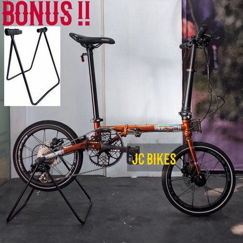 Foto Produk Sepeda Lipat Element Troy X9 Speed Full Chromoly, Hidrolik 16 inch - Orange Rusty dari JC Bikes