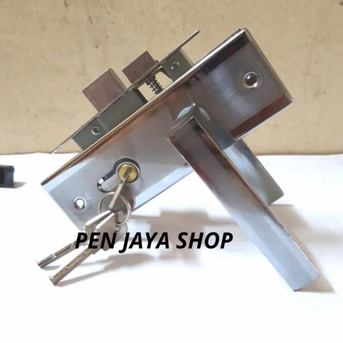 Foto Produk kunci pintu/handle pintu kecil/kunci kamar/gagang pintu - silver kotak dari Pen jaya shop