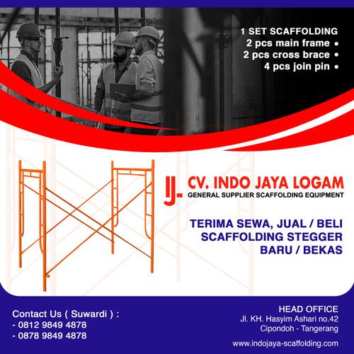 Foto Produk JUAL Steger Stager Stegger Scaffolding 1.70 170 cm 1 Set Baru SNI dari Indo Jaya Logam