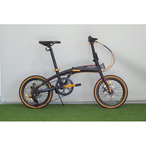Foto Produk Sepeda Lipat Element Police Milan 16 20 inch 8s Garansi Resmi kredit - Hitam Gold, 16 inch dari GUDANG SEPEDA OFFICIAL