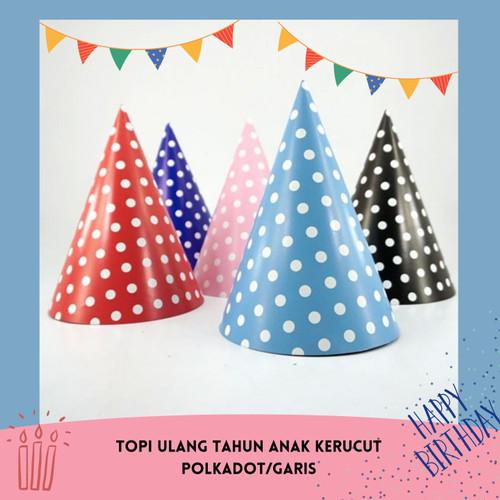 Foto Produk Topi ulang tahun anak kerucut polkadot garis dari puffpopshop