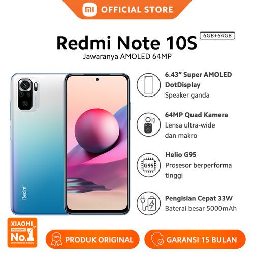 """Foto Produk Xiaomi Redmi Note 10S 6/64G NFC Quad Kamera Layar 6.43"""" Super AMOLED - Ocean Blue dari Xiaomi Official Store"""