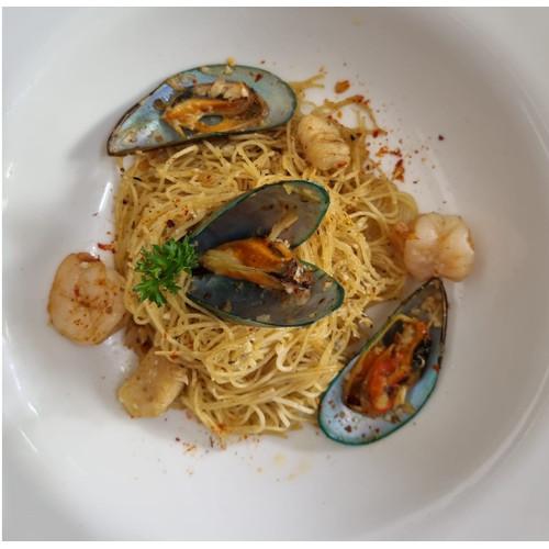 Foto Produk Angel Hair Seafood Aglio Olio (S) dari Halofudi