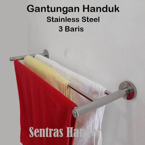 Foto Produk Gantungan Handuk Stainless HR 60-03 (60cm) 3 baris, Klasik dari Sentras Hanger