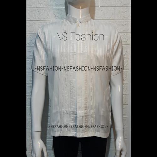 Foto Produk Baju Koko Pria Muslim Size M L XL Lengan Pendek Semi Sutra Putih Amran - Putih, M dari NSFASHION