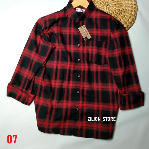Foto Produk Kemeja Flanel Unisex Kasual Pria Wanita Lengan Panjang Kotak Flannel - X07, S dari zilion_store