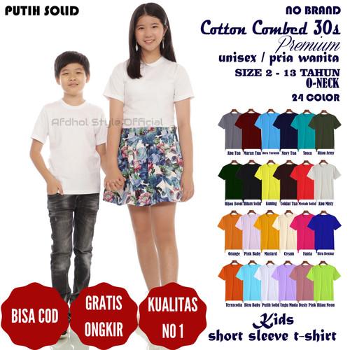 Foto Produk Fashion kaos baju polos anak laki pria cotton combed 30s 10 th pendek - 2 Tahun dari Afdhol Style Official