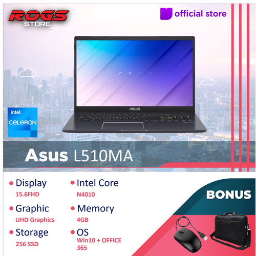 "Foto Produk Asus VivoBook L510MA Slim Bezel Numpad - Celeron N4020 4GB/128ssd 15"" - 256GB dari ROGS STORE"